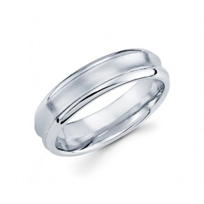 14K Brushed Concave Ring with Polished Edges