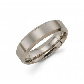 14K Brushed and Polished Grey Gold Band