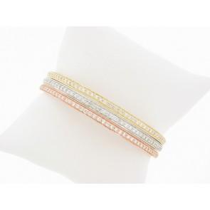 14K Tri-Color Dimaond Bangle Bracelet Set