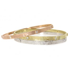 14K Brushed Hammered Diamond Bangle, 0.50ct
