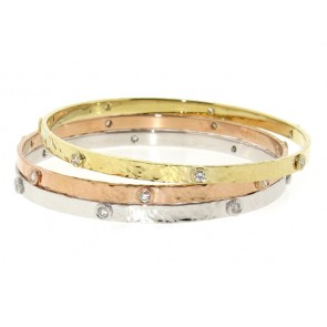 14K Brushed Polished Diamond Bangle, 0.50ct