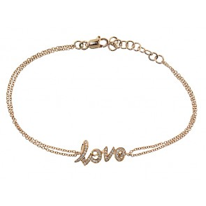 0.14ct Diamond Love Script Bracelet