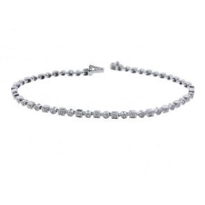 Square and Round Diamond Tennis Bracelet