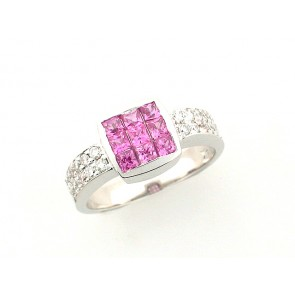14K Pink Sapphire and Diamond Ring