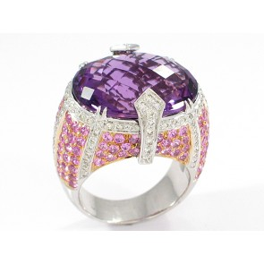 18K White Gold Amethyst and Pink Sapphire Ring