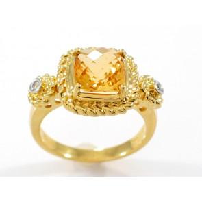 18K Citrine and Diamond Ring