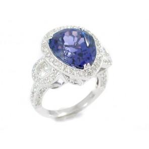 11.51CT Pear Shape Tanzanite and Diamond Ring
