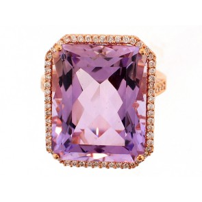 18K Rose Gold Amethyst and Diamond Ring