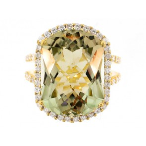 18K Green Amethyst and Diamond Ring