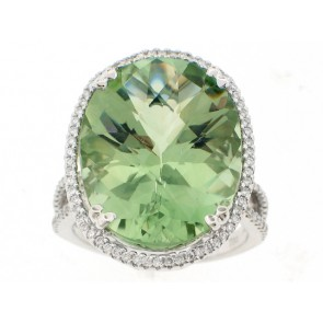 18K Exotic Green Amethyst and Diamond Cocktail Ring
