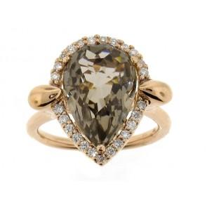 18K Smoky Topaz and Diamond Ring