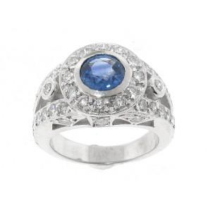 18K Diamond and Sapphire Ring