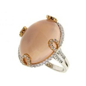 18K Rose Quartz and Diamond Ring