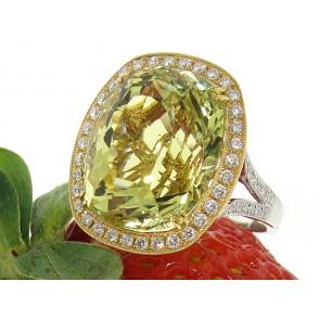 18K Yellow Beryl and Diamond Ring