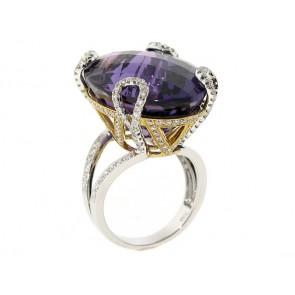 18K Diamond Amethyst Ring