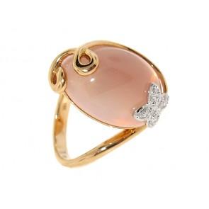 18K Rose Quartz Butterfly Ring