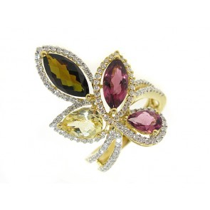 18K Tourmaline and Diamond Floral Ring
