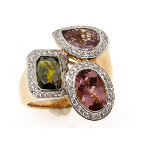 18K Pink Green and Yellow Tourmaline Ring
