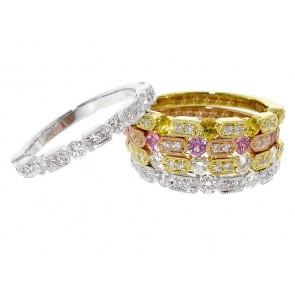 Pink Sapphire and Diamond Stackable Band