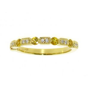 Yellow Sapphire and Diamond Stackable Band