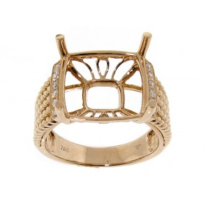 18K Rose Gold and Diamond Semi-Mount Ring