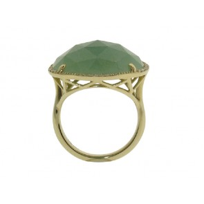 Green Agate and Diamond Ring