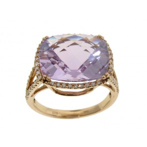 7.69ct Pink Amethyst and Diamond Ring