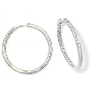 14K White Gold 1.21Ct Diamond Hoops