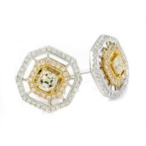 18K Fancy Yellow Diamond Two-Tone Earrings