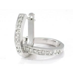 14K Elipse Shape Diamond Hoops