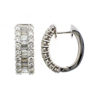 18K Round and Baguette Diamond Hoops