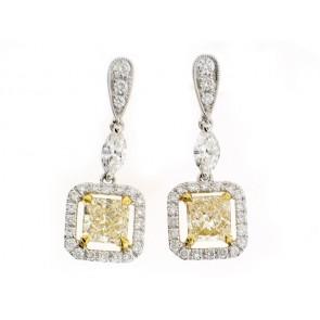 18K Fancy Yellow Diamond Earrings