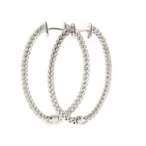 14k Diamond Hoop Earrings, 1.90ct