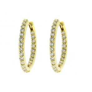 14K Diamond Hoop Earrings, 1.89ct