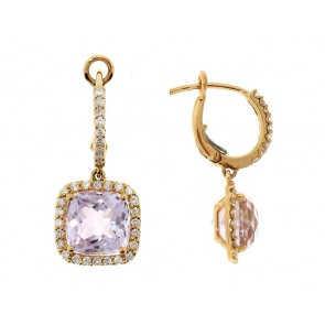 18K Rose Amethyst and Diamond Earrings