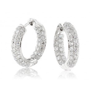 18K Pave Set Diamond Hoop Earrings