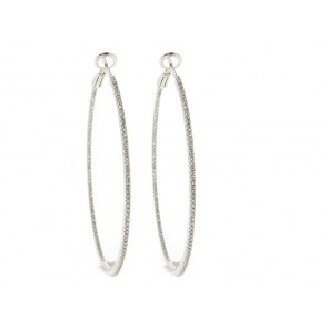 18K MicroSet Diamond Hoop Earrings, 0.74ct