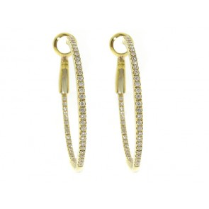 18K Yellow Gold Diamond Hoop Earrings, 0.38CT