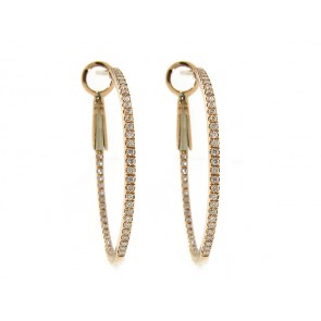 18K Rose Gold Diamond Hoop Earrings, 0.38ct
