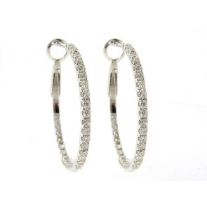 18K Diamond Hoop Earrings .78CT
