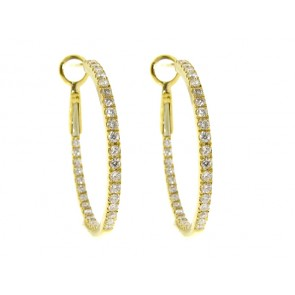 18K Yellow Gold Diamond Hoop Earrings, 0.80ct