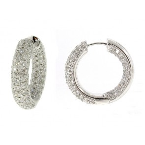 18K Pave Set Diamond Hoops