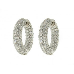 18K Diamond Hoop Earrings, 7.80ct