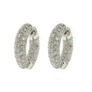18K Diamond Hoop Earrings, 5.60ct