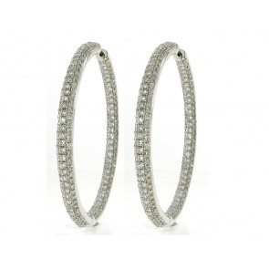 18K Large Diamond Hoop Earrings, 9.25ct