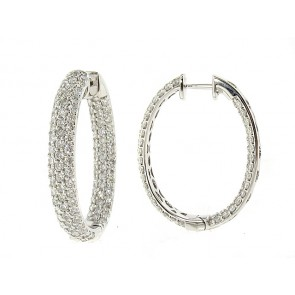 18K Diamond Hoop Earrings, 3.46ct