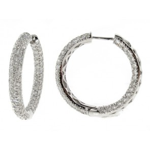 18K Diamond Hoop Earrings, 4.71ct