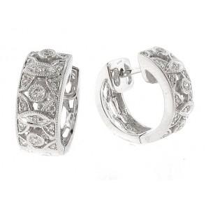 18K Diamond Huggy Earrings, 0.22ct
