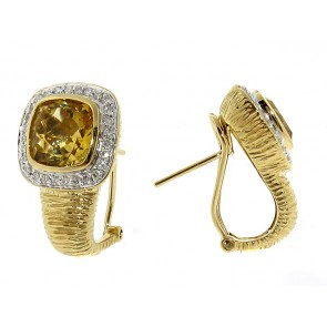 14K Diamond and Citrine Earrings