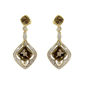 14K Diamond and Smokey Topaz Earrings